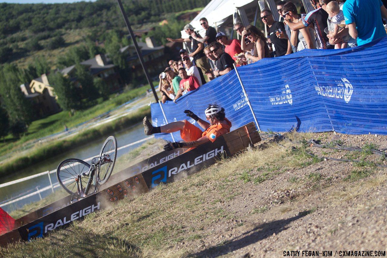 Stevil pulls a Joey on the barriers. © Cathy Fegan Kim